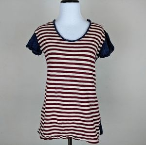 J. Crew T Shirt Red White Blue American Flag